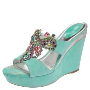 René Caovilla Aquamarine Suede Jewel Embellished Wedge Sandals Size 38.5