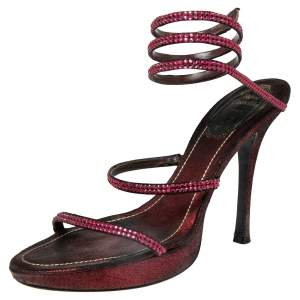 René Caovilla Burgundy/Black Satin Cleo Crystal Embellished Sandals Size 37