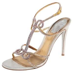 René Caovilla Beige Satin Crystal Embellished Ankle Strap Sandals Size 39.5