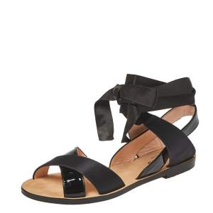 Repetto Black Patent Leather And Satin Leandre Ankle Wrap Flat Sandals Size 37