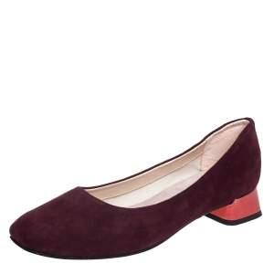 Repetto Burgundy Suede Block Heel Ballerina Size 37.5