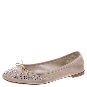 Repetto Beige Suede Crystal Embellished Ballet Flats Size 39