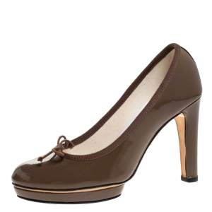 Repetto Brown Patent Leather Tess Platform Pumps Size 38