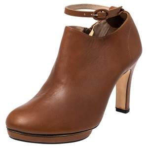 حذاء بوتيز للكاحل ريبيتو نعل سميك تري جلد بني تان مقاس 40
