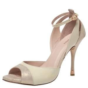 Repetto Cream/Off-White Patent And Nubuck Ankle Strap Peep Toe Pumps Size 40