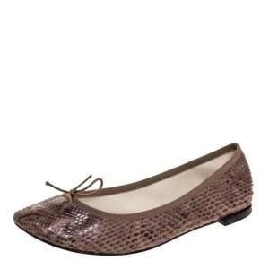 حذاء باليرينا فلات ريبيتو فيونكة جلد ثعبان بني مقاس 41
