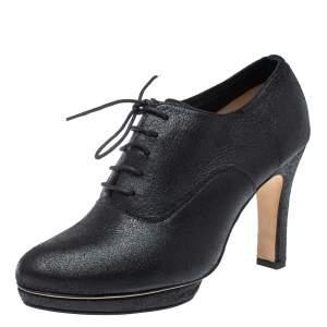 حذاء بوت ريبيتو نعل سميك أربطة جلد أسود مقاس 40