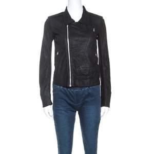 Rick Owens Black Leather Low Neck Biker Jacket S