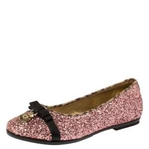 حذاء باليرينا فلات روبرتو كافالي أنجلز غليتر وردي مقاس 37