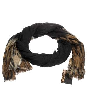 Roberto Cavalli Black & Brown Animal Print Cashmere Blend Scarf