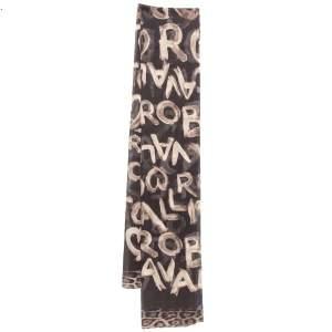 Roberto Cavalli Brown Graffiti logo Print Silk Scarf