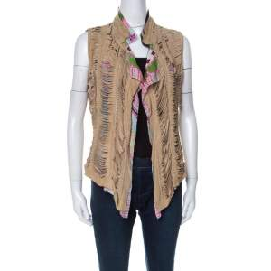 Roberto Cavalli Multicolor Printed Silk and Beige Suede Overlay Sleeveless Vest M