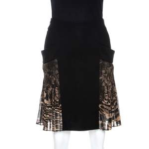 Roberto Cavalli Black Crepe Pleated Print Panel Detail Skirt S