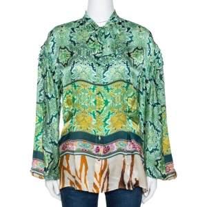 Roberto Cavalli Green Floral Paisley Printed Silk Blouse M