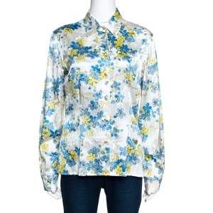 Roberto Cavalli White Floral Printed Stretch Silk Button Front Shirt L