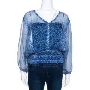 Roberto Cavalli Blue Floral Shimmer Print Silk Sheer Kaftan Blouse M