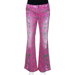 Roberto Cavalli Pink Floral Print Cotton Flared Jeans L