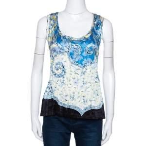 Roberto Cavalli Blue Abstract Printed Semi Plisse Silk Sleeveless Top L