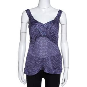 Roberto Cavalli Purple Floral Print Silk Sheer Camisole Top M