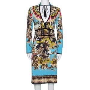 فستان روبرتو كافالي ضيق جيرسيه طباعة تابستري أزرق L