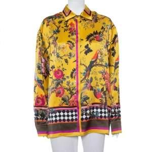 Roberto Cavalli Yellow Tropical Printed Silk Button Front Shirt XL