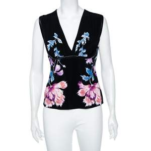 Roberto Cavalli Black Floral Printed Jersey Sleeveless Blouse L