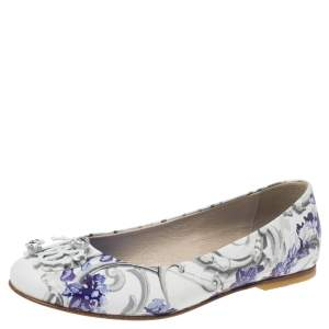 Roberto Cavalli Multicolor Printed Leather Embellished Ballet Flats Size 35