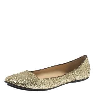 Roberto Cavalli Gold Glitter Slip On Loafers Size 41