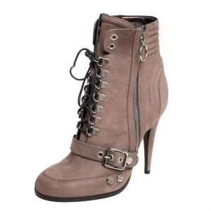 حذاء بوت روبرتو كافالى أربطة مقدمة مستديرة نوبوك رمادى مقاس 39