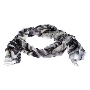 Roberto Cavalli Grey Camouflage Print Cashmere and Silk Scarf