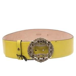 Roberto Cavalli Yellow Leather Buckle Embellished Belt 95CM