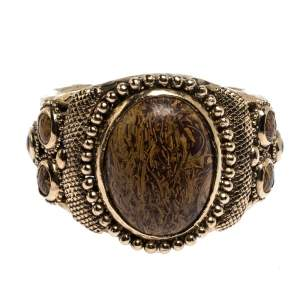 Roberto Cavalli Aged Gold Tone Etched Cabochon Open Cuff Bracelet