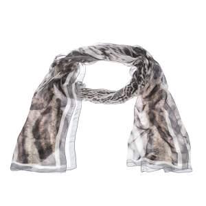 Roberto Cavalli Grey Animal Print Silk Scarf