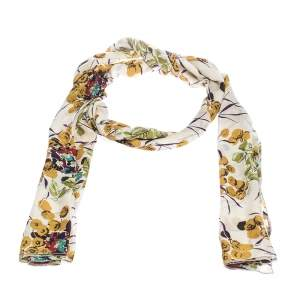 Roberto Cavalli Off White Shimmer Floral Print Silk Stole