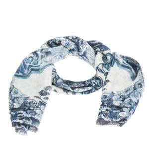 Roberto Cavalli White & Blue Floral Print Linen Giant Scarf