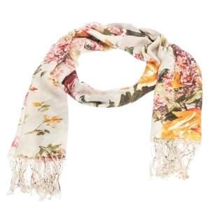 Roberto Cavalli Cream Floral Print Fringed Cashmere & Silk Scarf