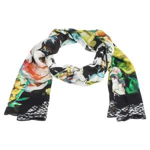 Roberto Cavalli Multicolor Abstract Floral Print Silk Stole