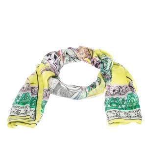 Roberto Cavalli Yellow Printed Silk Stole