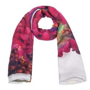 Roberto Cavalli Mauve Floral Printed Silk Scarf