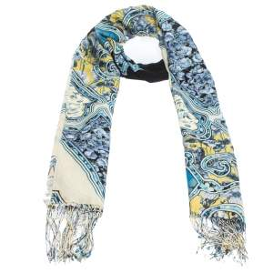 Roberto Cavalli Blue Floral Printed Cashmere Blend Fringed Scarf