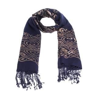 Roberto Cavalli Navy Blue Oriental Foil Print Cashmere Blend Shawl