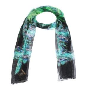 Roberto Cavalli Green Floral Printed Silk Tulle Stole