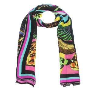 Roberto Cavalli Multicolor Butterfly Print Silk Scarf