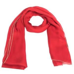 Roberto Cavalli Red & Gold Lurex Trim Silk Scarf