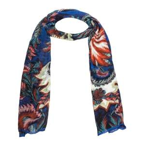 Roberto Cavalli Blue Abstract Floral Print Silk Stole