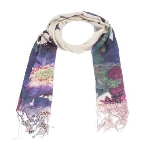 Roberto Cavalli Mauve Floral Print Cashmere Blend Fringed Scarf
