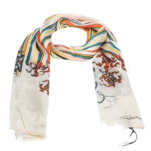 Roberto Cavalli Multicolor Striped Oriental Print Silk Scarf