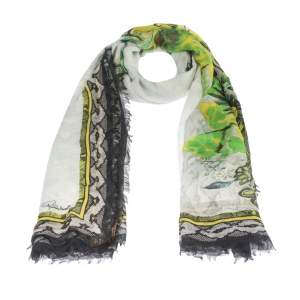 Roberto Cavalli Multicolor Wildlife Printed Cashmere Blend Scarf