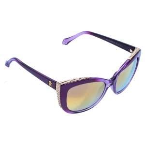 Roberto Cavalli Purple/ Gold Mirrored 888S Mekbuda Cateye Sunglasses