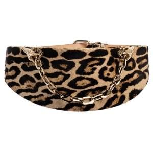 Roberto Cavalli Brown Leopard Print Calfhair Snake Head Chain Waist Belt 80CM
